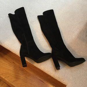 Black suede over knee boot.